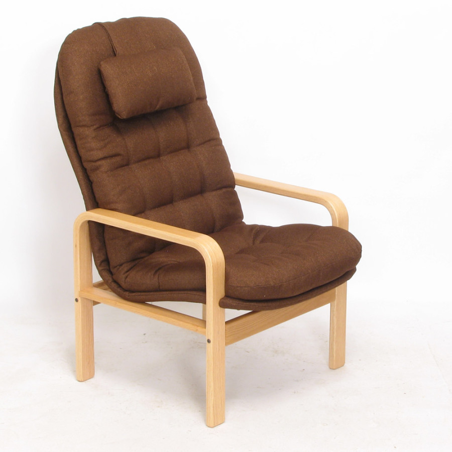 High-Back Chair - Boxford: Chestnut - Oak: Clear