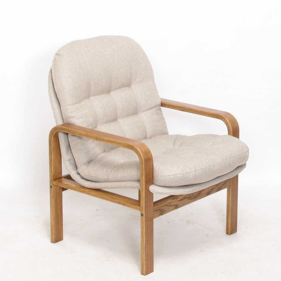 Low Back Chair - Boxford: Flax - Oak: Walnut